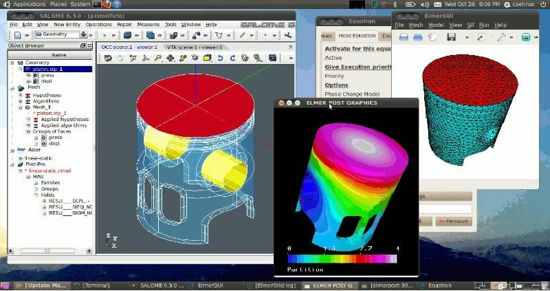 CAELinux con apps de diseño CAD