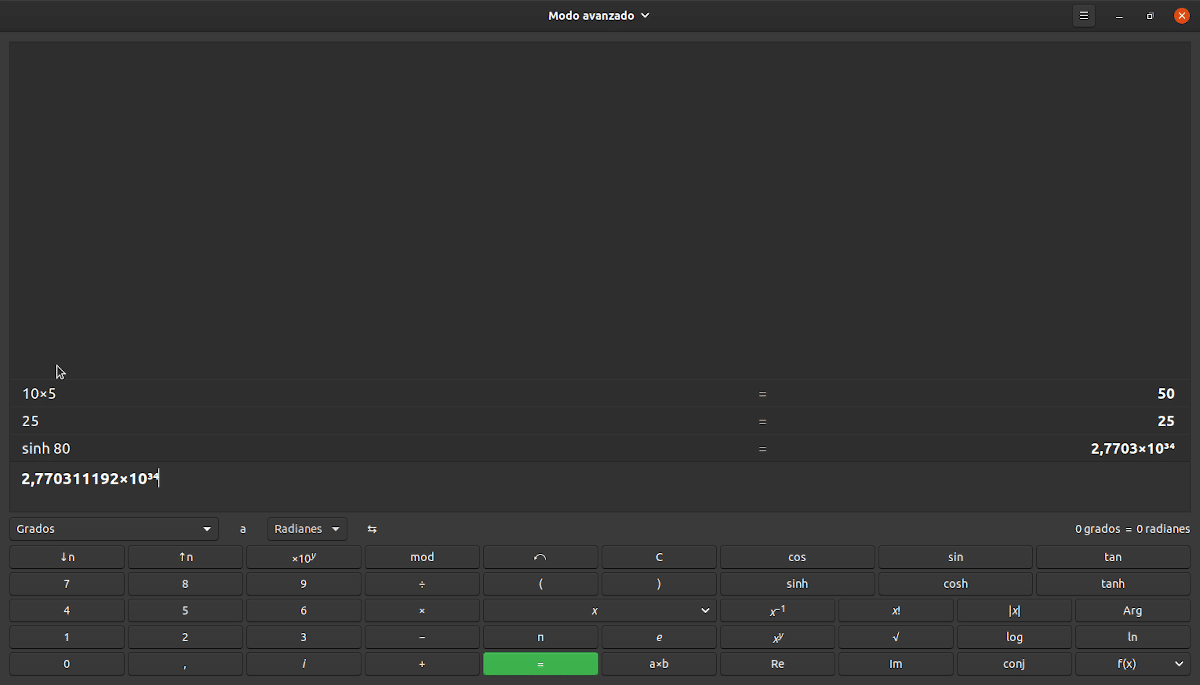 La calculadora de GNOME