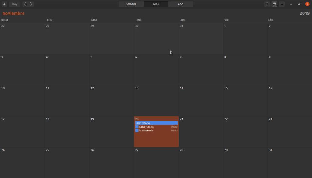 La aplicación de calendarios de GNOME