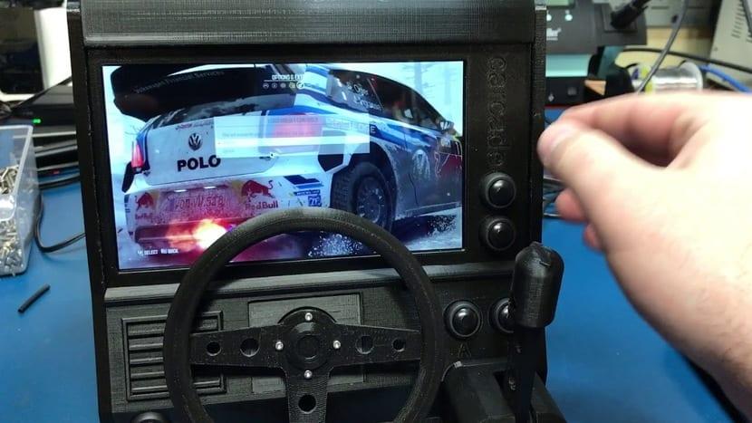 Salpicadero de coche simulado