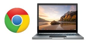 Logotipo de Chrome junto con ChromeBook