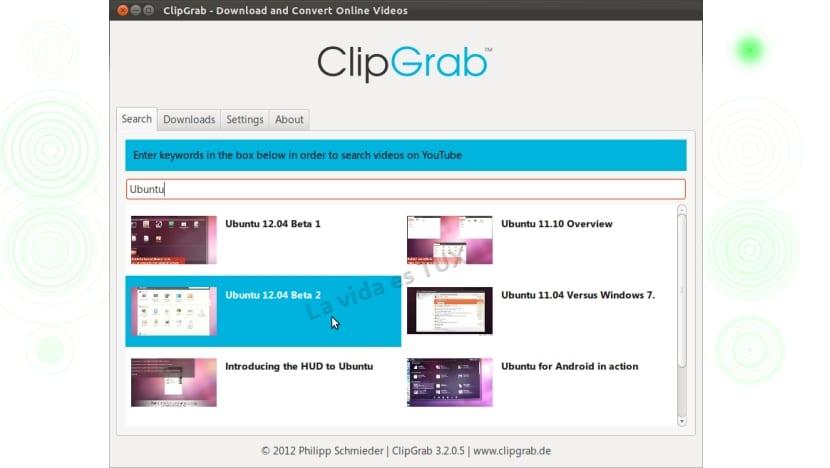 Interfaz del ClipGrab