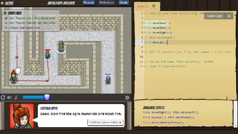 Pantalla típica del juego CodeCombat