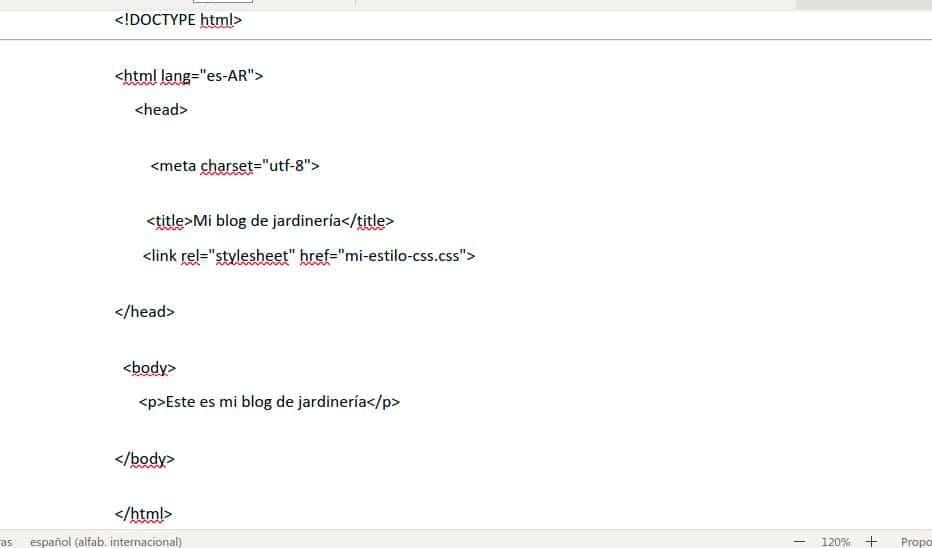 Código HTML con llamada a una hoja de estilo externa