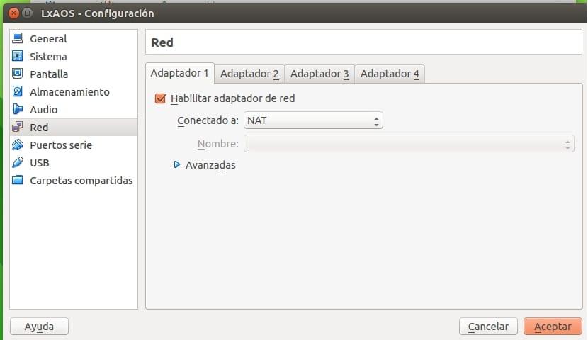 Configuración de red VM