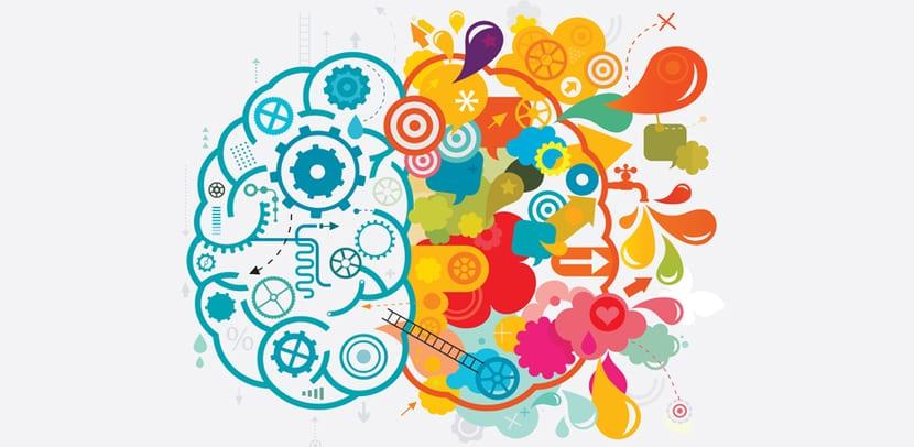 Creatividad-cerebro con simbología técnica y colores