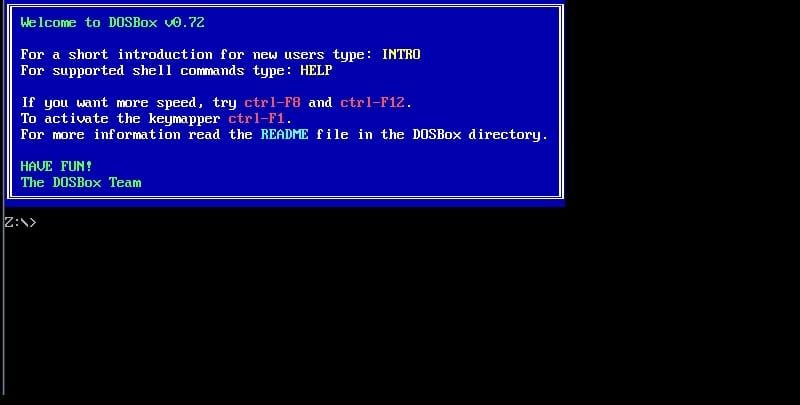 Pantalla principal de DOSBox