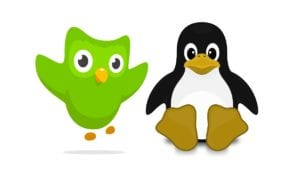 Logo de Duolingo y Tux