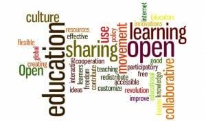 Collage de palabras referentes a la educación
