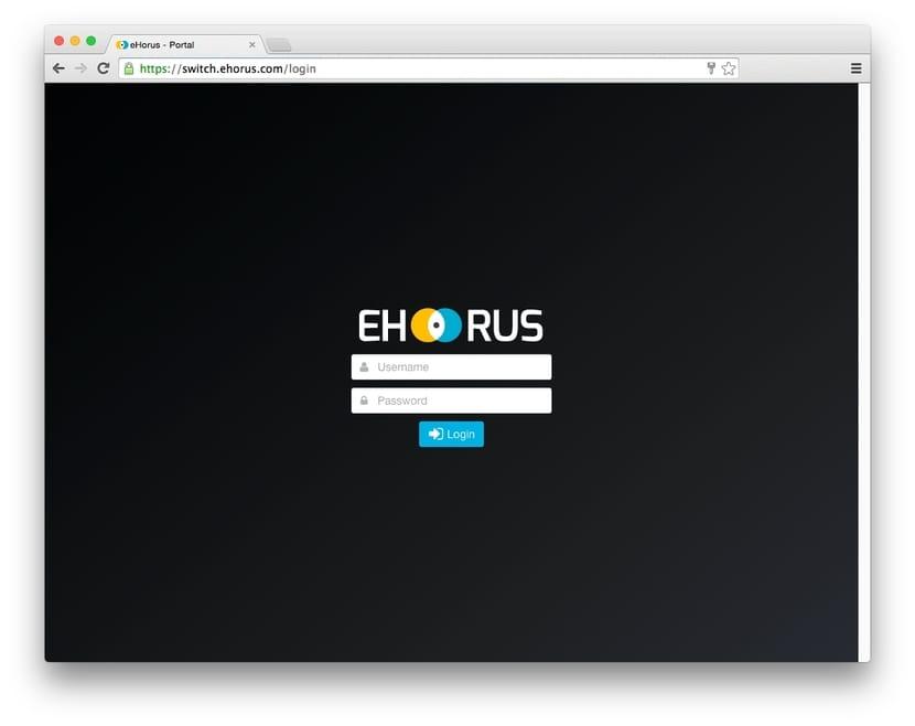 ehorus pantalla de login