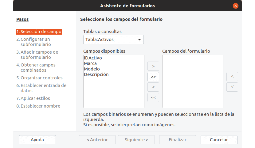 La creación de formularios en LibreOffice Base es muy fácilusando el asistente