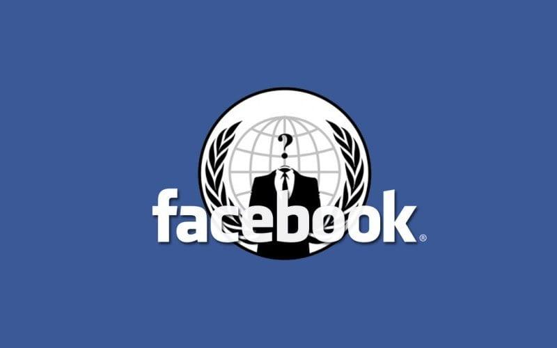 Logo de Facebook junto con logo de Anonymous