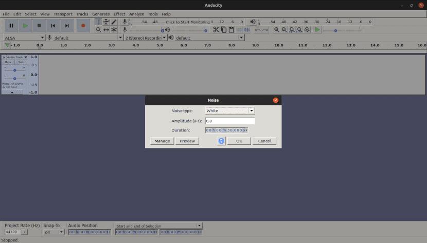 Captura de pantalla del generador de ruidos de Audacity