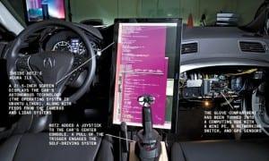 Interior de Geohot coche autónomo
