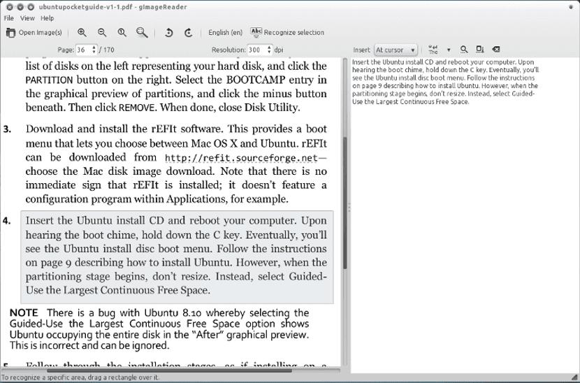 Programa OCR en Debian