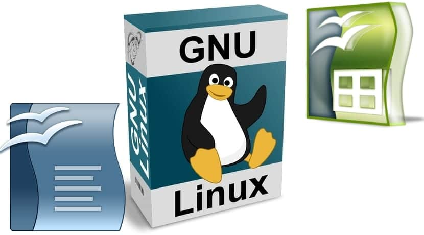 GNU Linux paquete y logo offices
