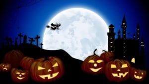 Halloween fondo de pantalla con luna, castillo, bruja y calabazas