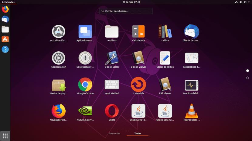 Captura de pantalla de los iconos de Ubuntu 19.04