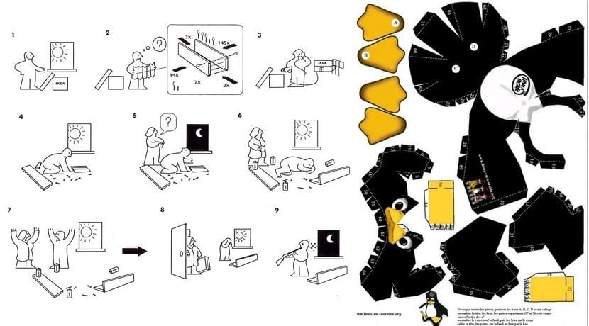 Ikea instrucciones Tux recortable