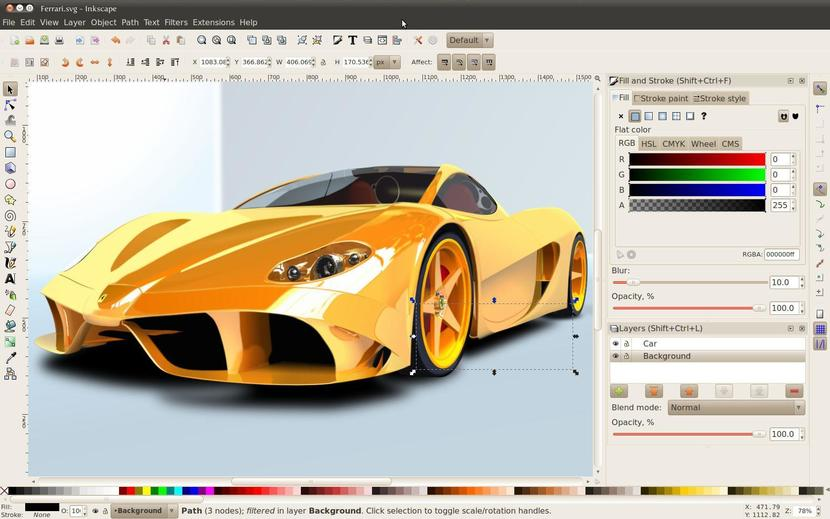 Interfaz de Inkscape