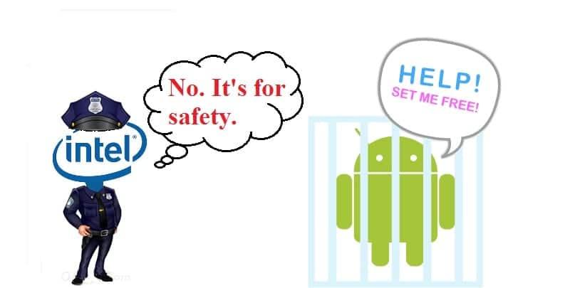 Caricatura de Andy (mascota de Android) entre rejas y policía con logo de Intel