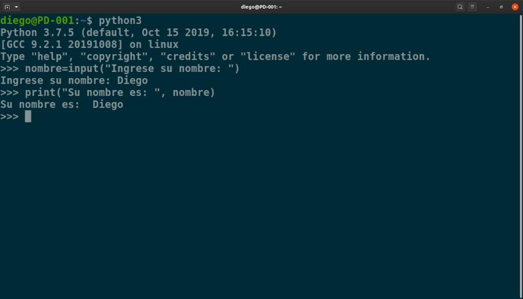 Intérprete de Python en la terminal