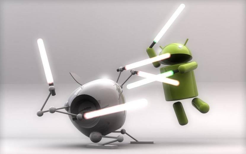 iOS vs Android (Andy vs Manzana: luchan con espada láser)