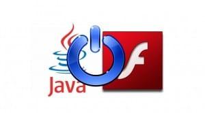 Logo de Java y Flash con un botón de apagado superpuesto