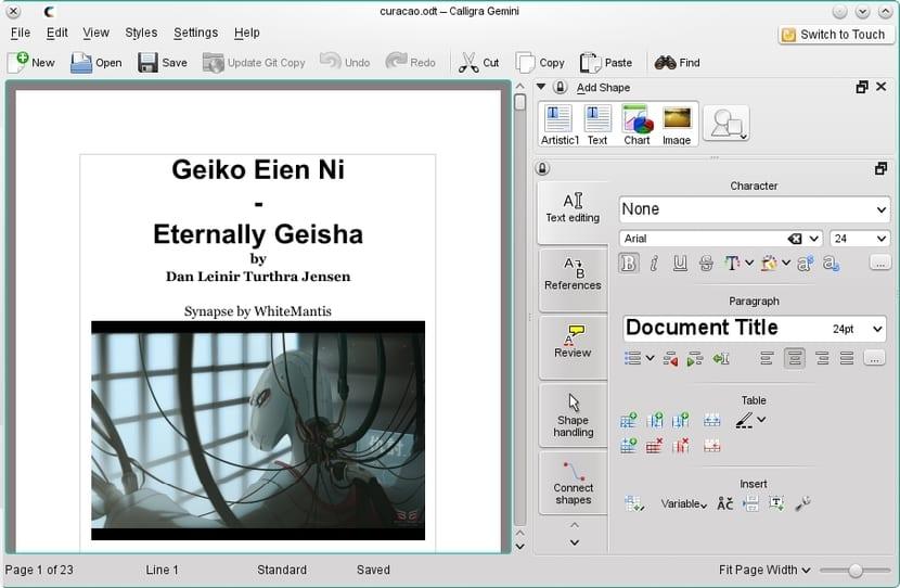 KDE Calligra interfaz