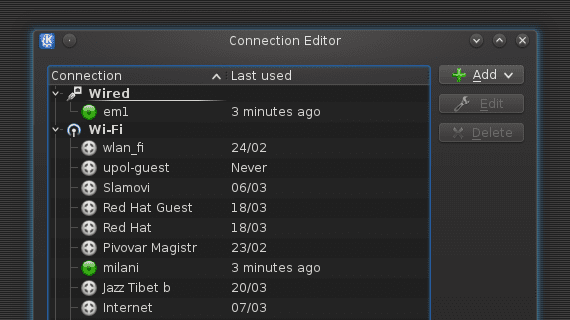 KDE Gestor de conexiones