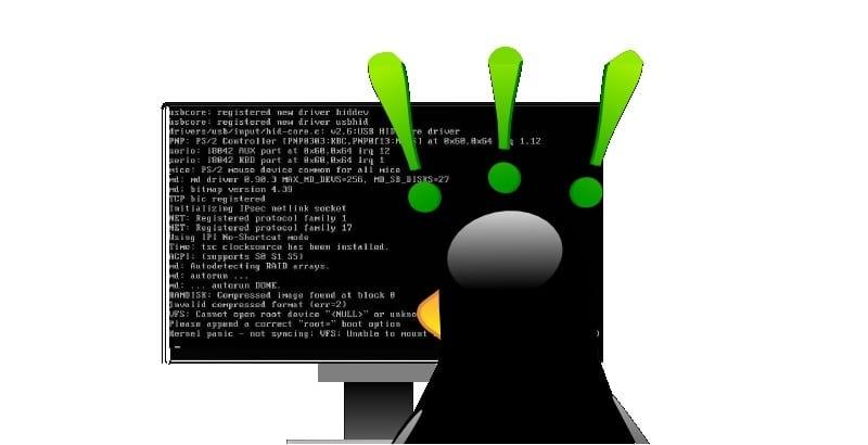 Tux mirando pantalla de código con signos de exclamación en la cabeza