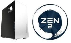 Torre Slimbook Kymera y logo AMD Zen 2