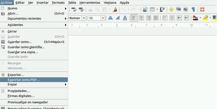 Menú de LibreOffice para exportar a PDF