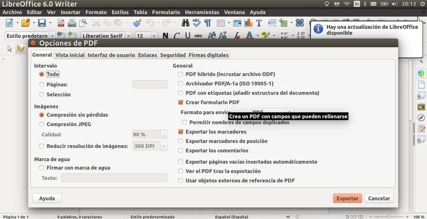 Opciones PDF de LibreOffice