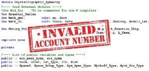 """Líneas de código fuente y sello de """"Invalid account number"""""""