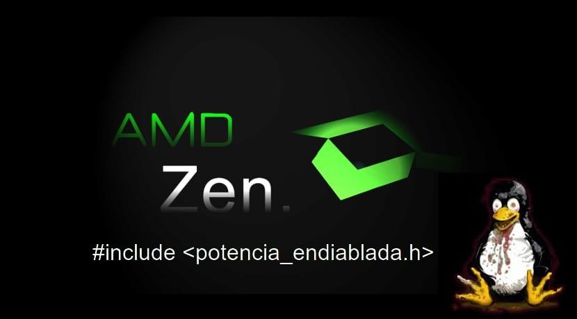 AMD Zen logo y Tux endiablado