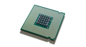 Chip microprocesador del revés