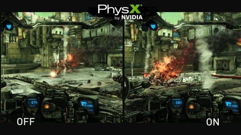 Imagen sin vs con Physx