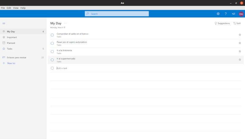 Captura de pantalla de la aplicación de lista de tareas A0