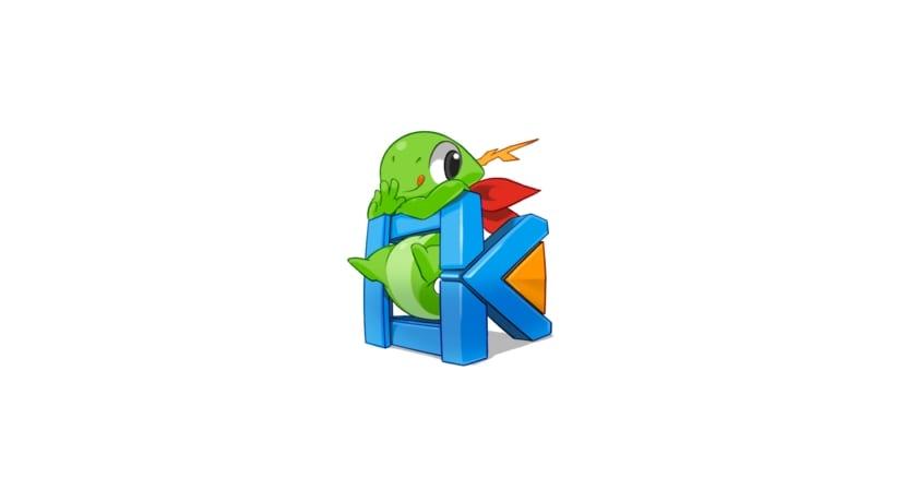 Logo de KDE Frameworks con pequeño reptil colgado de las letras