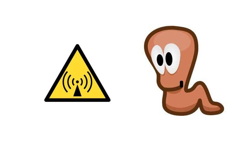 Logo de radiación no ionizante y dibujo de gusano