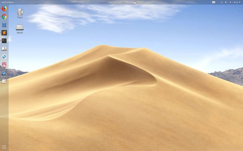 Captura de pantalla de Mojave y Gnome