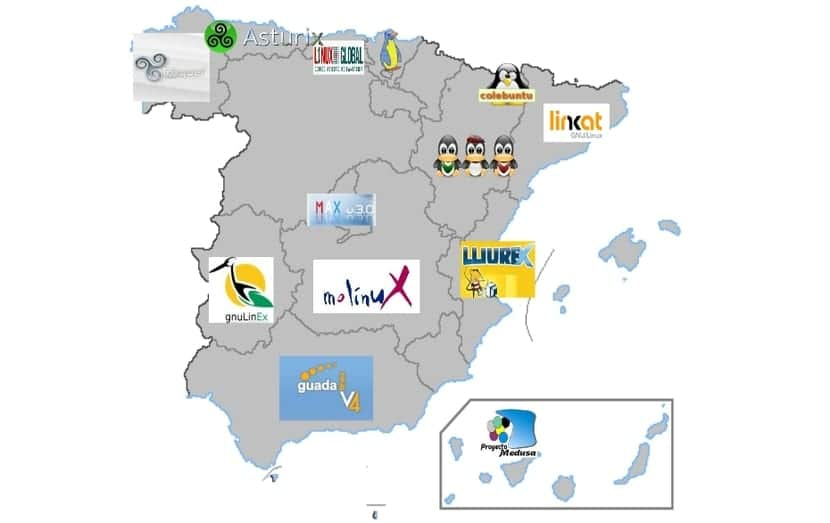 Mapa España distros Linux