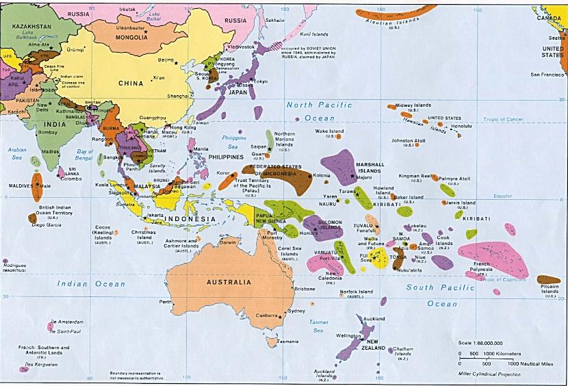 Mapa de Oceanía y Asia