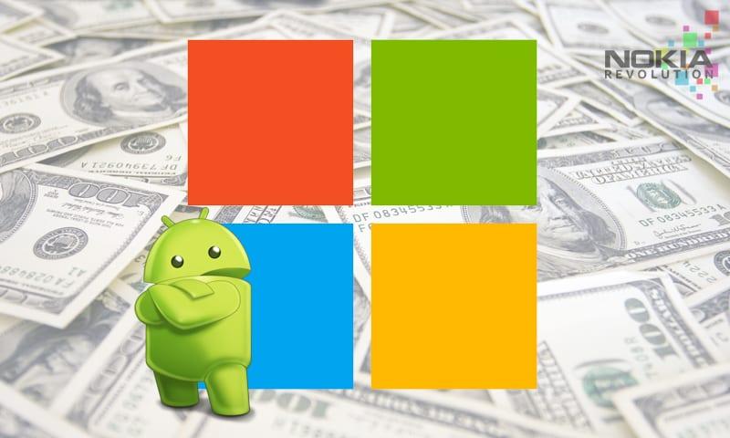 Andy junto al logo de Windows y fondo de dinero