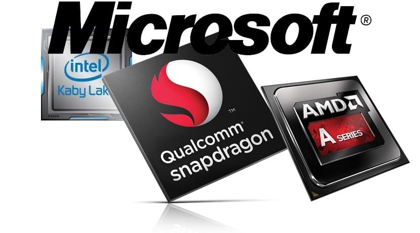 Microsoft logo y chips de Intel, Qualcomm y AMD