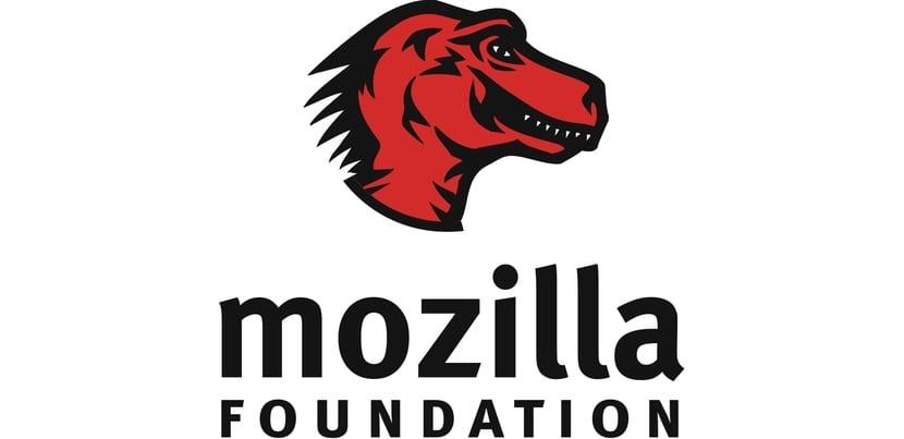 Logo de Mozilla Foundation, cabeza de dinosaurio rojo