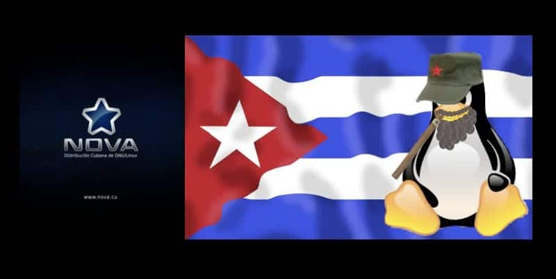 Bandera de Cuba y Tux con apariencia de Fidel Castro junto al logo de Nova