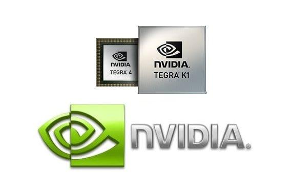Chips SoC NVIDIA Tegra 4 y Tegra K1 junto al logo de NVIDIA