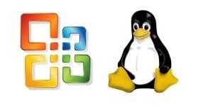 Logo de Microsoft Office junto a la mascota Tux